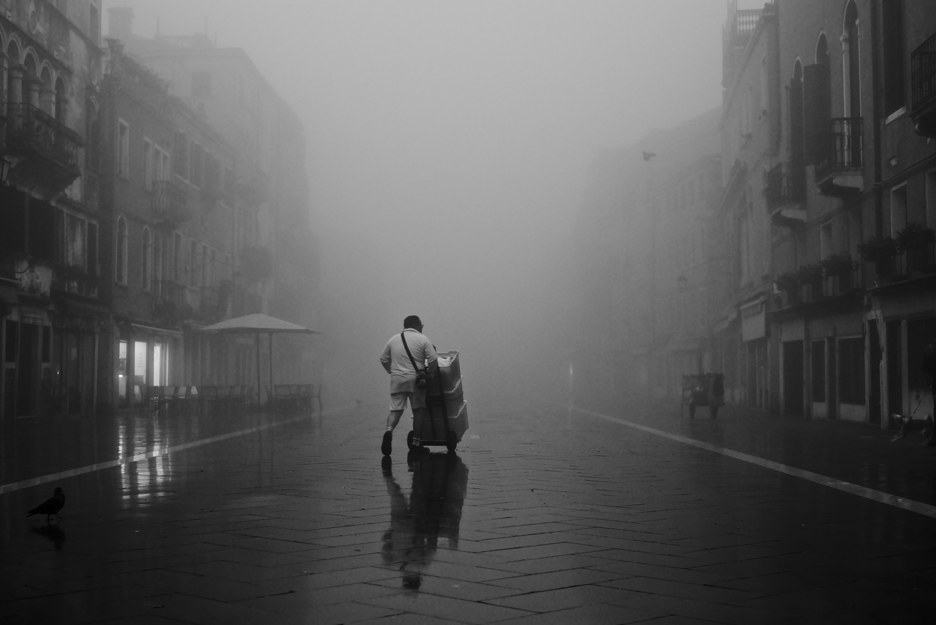 The local bakery doing an early delivery of bread in the Via Garibaldi in Venice, on a very foggy morning.