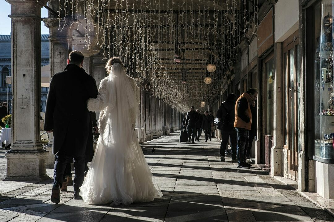 Newly weds at St. Mark's square