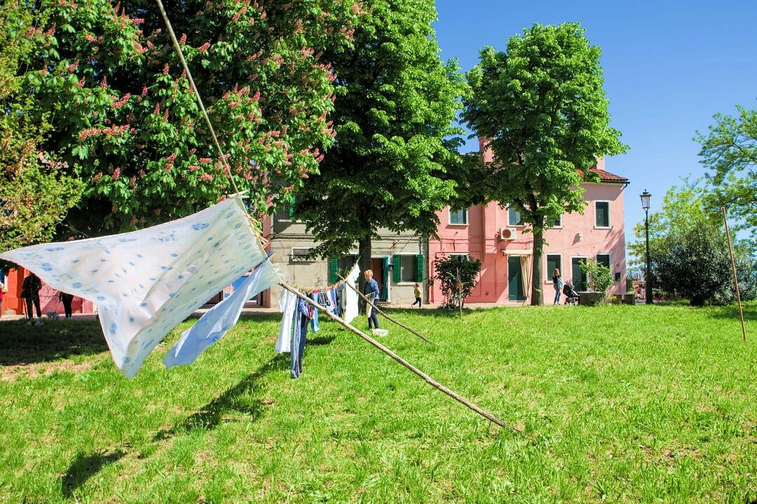The people on Burano hang their laundry between the trees