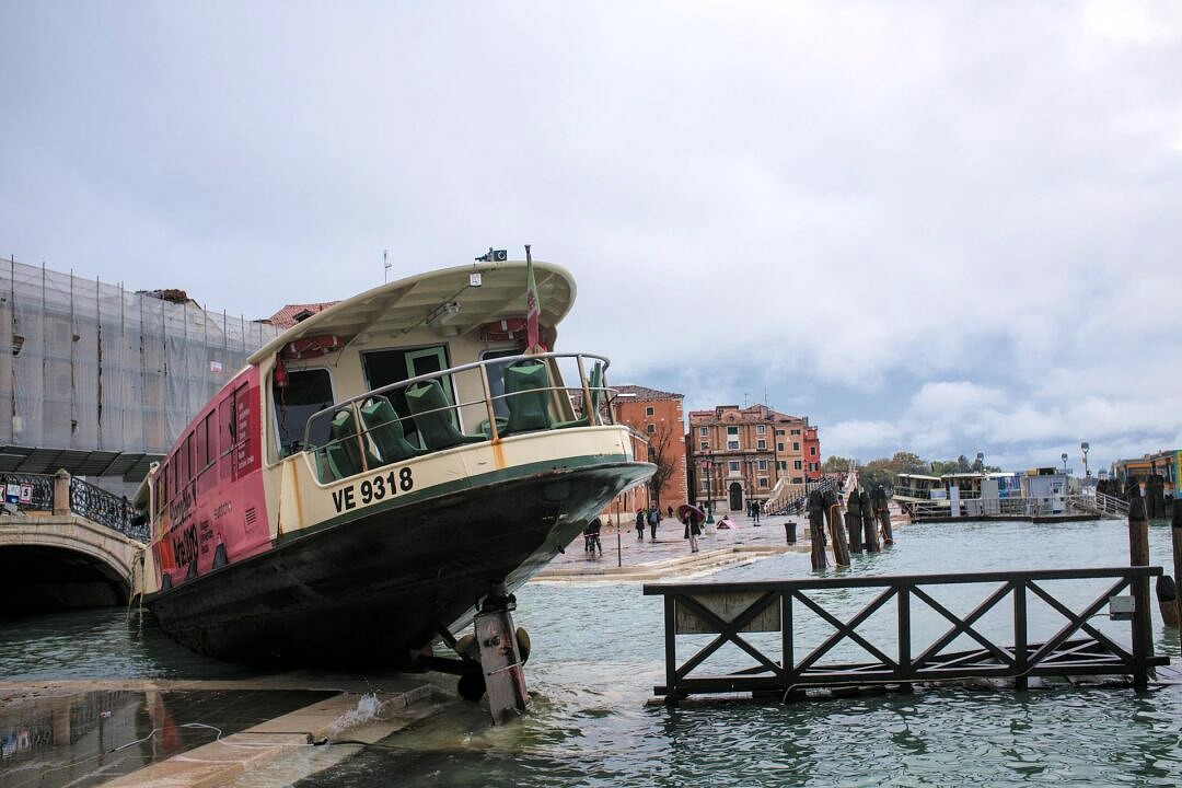 Wrecked vaporetto in central Venice