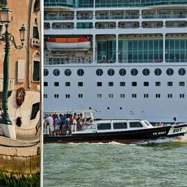 Vaporetto, cruise ship and Venus (Steve Jobs' yacht)